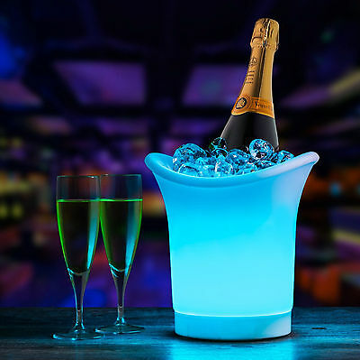 7 Colour Changing LED Ice Bucket Champagne Wine Drinks Cooler Retro Party Bar 5L