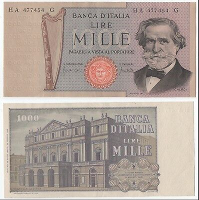 Italy 1000 Lira Bank Note '' Ha 477454 G ''  Excellent Condition.