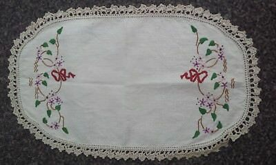 Embroidered Crochet Edged Oval Doily  39cms x 24cms Used