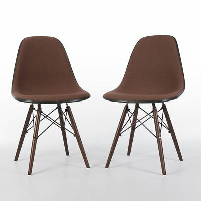 Peach Pair (2) Herman Miller Vintage Eames Upholstered DSW Dining Side Chairs