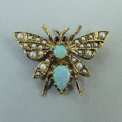 Fine 9K Gold, Opal, Seed Pearl & Ruby Insect Brooch London 1987 - 3.5 Grams