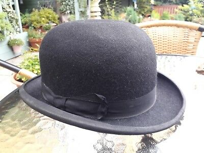 "OLD BOWLER HAT - WOODROW AMYLYTE ""CAMBERLEY"" (Piccadilly London Maker) size GG"