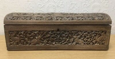 Large Antique Indian Wooden Carved Box