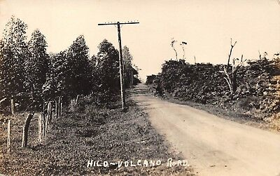 Hilo, HawaiI Real Photo PC c. 1910 Volcano Road, AZO Stamp Box