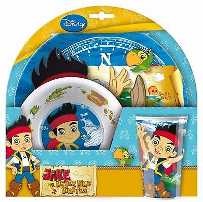 Disney Jake and the Neverland Pirates Breakfast Dinner Set Plate Bowl Cup Kids