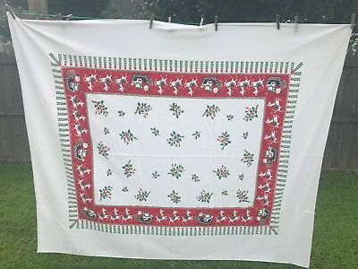 "Vintage Christmas Tablecloth 71"" by 59 1/2"". Santa and Reindeer"