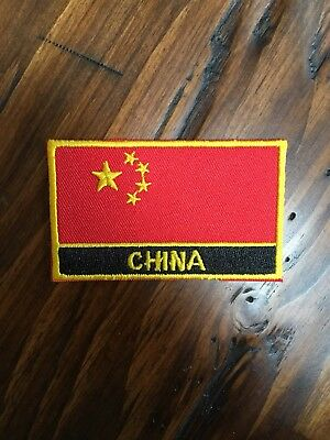 """CHINA FLAG PATCH - 2x3.25"""" Iron-on Chinese flag vintage patches brand new"""