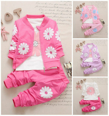 3pcs Baby clothes girls clothes jacket coat+Tee +pants outfits tracksuit flower