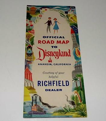 "DISNEYLAND 1950's THEME PARK""OFFICIAL ROAD MAP TO DISNEYLAND""BY RICHFIELD-N. MNT"