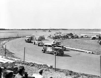 "1956 Stock Car Racing, Edmonton, Alberta, Canada Vintage Photograph 8.5"" x 11"""