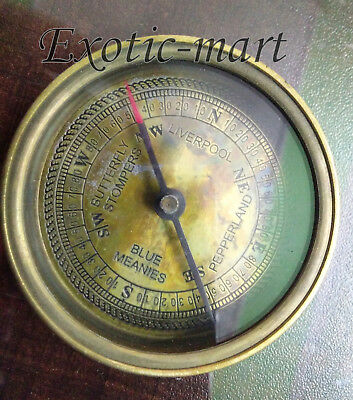 The Beatle Finder Flat Compass Nautical Engraved Navy Replica Compass Pocket Gft