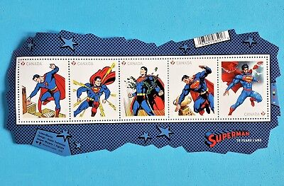 Superman 75th Anniversary Canadian Stamps TM and © DC Comics Souvenir sheet of 5