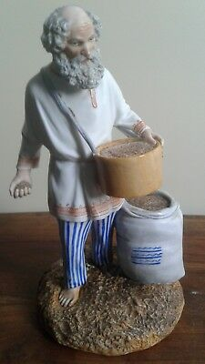 Popov biscuit figure of a Farmer Sowing 1850 circa Antique russian porcelain