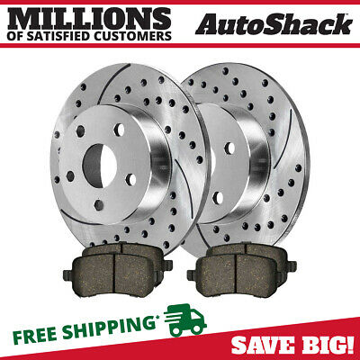 New Rear Pair of Silver Performance Drilled & Slotted Rotors and Ceramic Pads