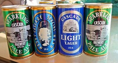 Collectable beer cans: Set of 4 Cascade Ale & Lager crimp steel 370/375ml cans