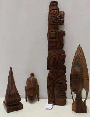 4x Carved Wood Items - Canadian Squamish or Salish Indian (41 cms), African