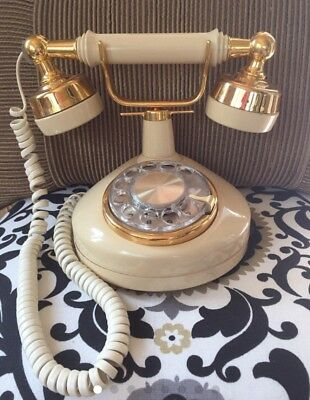 French style Gold and cream vintage rotary dial phone