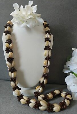"Vintage SHELL NECKLACE Natural Multi-Color Brown Cream 34"" long"