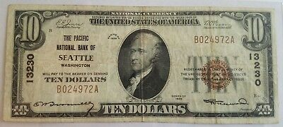 $10 1929 The Pacific National Bank of Seattle #13230 National Bank Note