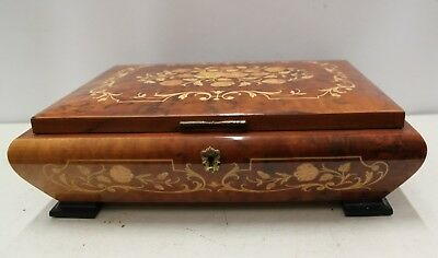 Wood Inlaid Jewellery Box with Musical Movement (Love Story) - 34 cms wide.