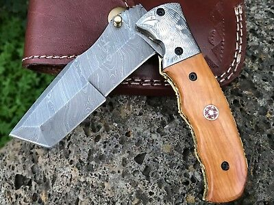 "HUNTEX Custom Handmade Damascus 4.3"" Long Oak Wood Hunting Tanto Pocket Knife"