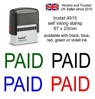 Paid Rubber Stamp 11040 Self Inking Stamp Choice Of Colours Office Accounts