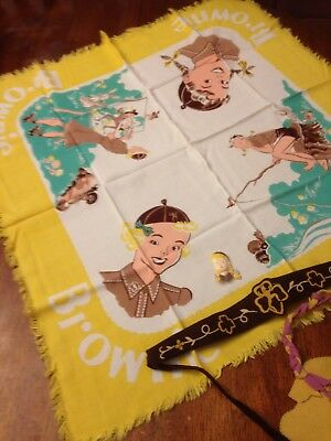 Vintage Brownies / Girl Scounts Scarf, Waist band, Pin and Craft