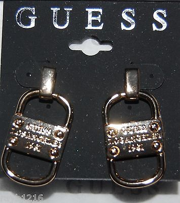 NWT Guess Gold-tone Metal Logo Stamped 'Door-knocker' Style Post Back Earrings