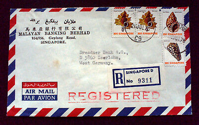 Singapur,Luftpost R-Brief,AIR MAIL,PAR AVION,Registered Letter,Bankbrief,TOP.