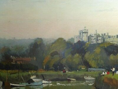 Oil Fishing By Arundle Castle Listed Artist John Deller  Free Shipping England