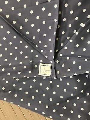 """5.75 Yards Vtg 40s Silky Rayon Dress Fabric Orig Tag Gray With White Dots 44"""" W"""