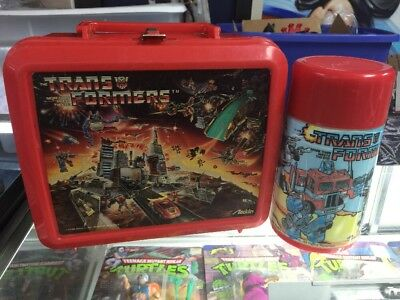 Vintage Transformer lunch box with thermo 1984 aladdin industries Hasbro