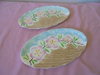 Pair Of Vintage Oval Myott Son & Co Hand Painted M 13 F Ceramic Plate / Tray