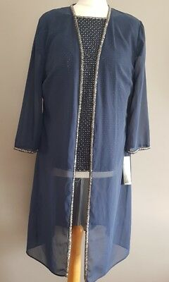 Navy/gold Veni Infantino Mother Of The Bride/groom 3 Piece Trouser Suit Size:10