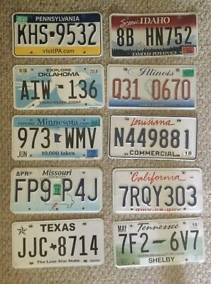 Mixed Lot 10 diff Expired/Invalid License Plate Sign Man Cave Craft TN MO CA PA