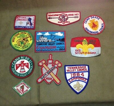 Vintage 1960s Boy Scouts BSA Patch Lot 1 Tennessee Council Camp Hook Valley Forg