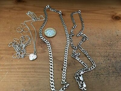 Job lot Sterling Silver heavy chains 925 not scrap
