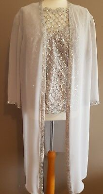 Silver Veni Infantino Mother Of The Bride/groom 3 Piece Trouser Suit Size 16