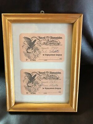 Framed Pair U.S. Capitol House Of Representatives Gallery Ticket Melvin Price