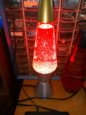Red Glitter Motion Lava Lamp SILVER BASE GOLD TOP  Rare