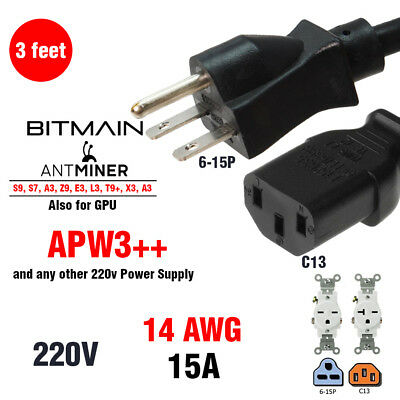 3' AC Power Cable for ALL ASIC BITMAIN Antminers HEAVY DUTY 15a 220v PSU and GPU