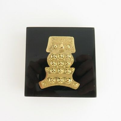 Colombian Archeological Reproduction Pectoral Hammered Gold The Owl Paperweight