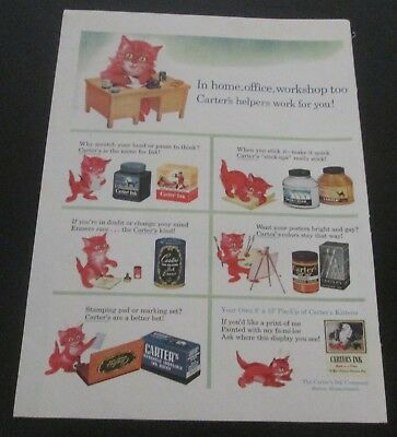 1945 original ad Carter's Color Inks cute Cat Shows Many Uses