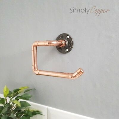 Copper Toilet Roll Holder With Cast Iron Wall Mount -  Industrial Style