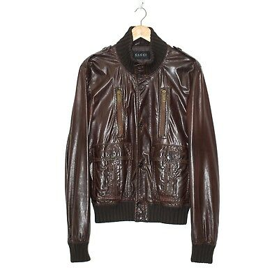 GUCCI Men's Madonna Brown Leather Bomber Jacket Long Sleeve Zip Up Size 54 XL