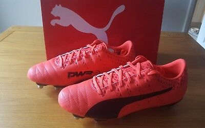 New, Puma evoPOWER Vigour H8 SG Fiery Coral Black Rugby Boots Size UK 10