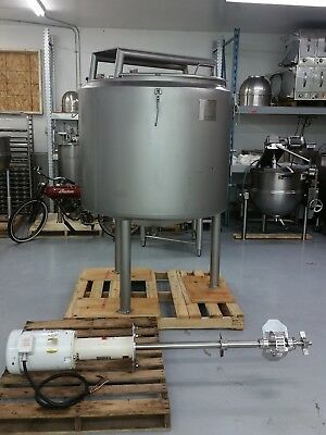 400 Gallon Stainless Steel Jacketed Tank w Admix Mixer Agitation steam kettle
