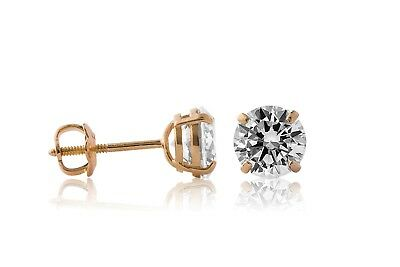 14K Yellow Gold Round Brilliant Created Diamond Screw Back Stud Earrings