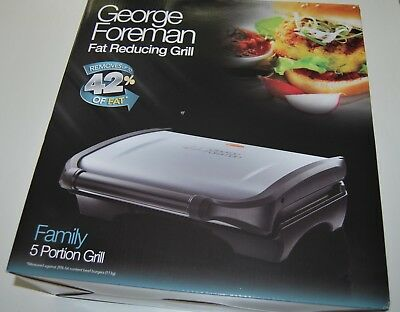 Brand New George Foreman Fat Reducing Family 5 Portion Grill Press 19920