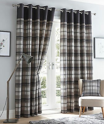 Tartan Check Orleans Eyelet Ready Made Lined Curtains Or Cushion Cover Pair